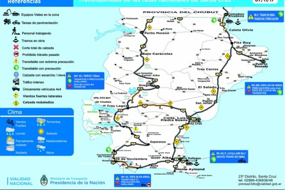 Parte diario de transitabilidad de Rutas Nacionales