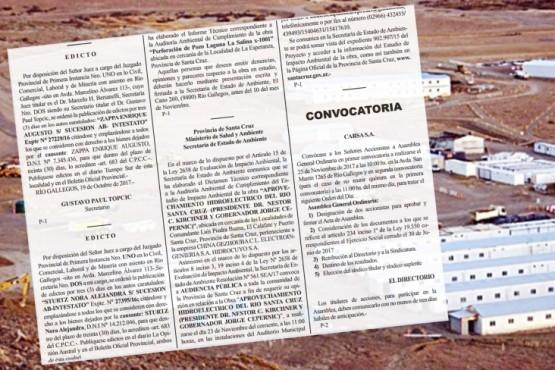 Provincia mantuvo nombre de las represas en una publicación del Boletín Oficial