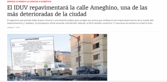 El IDUV otorgó la repavimentación de la calle Ameghino a la empresa ACRI