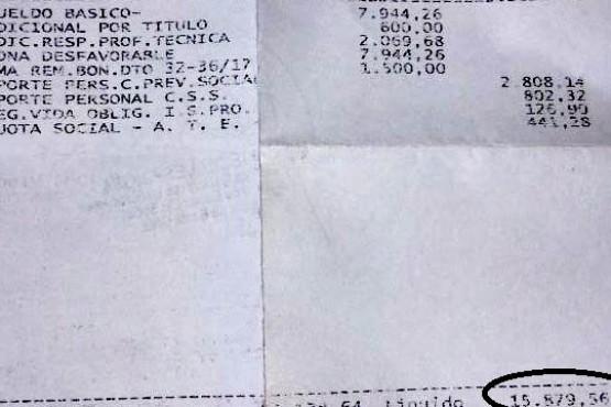 Recibo de sueldo de un Ex Ley 591