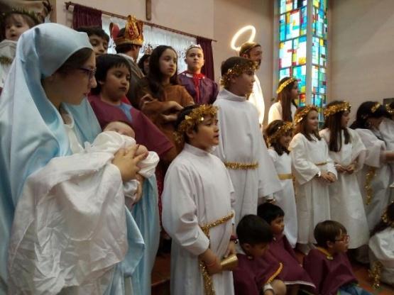 Expusieron el pesebre viviente en la Parroquia San Jorge