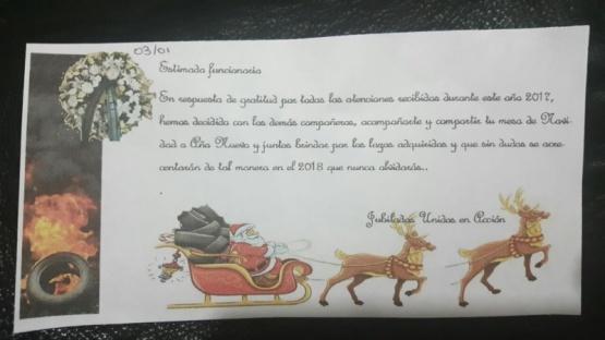 Funcionarios recibieron una irónica tarjeta navideña