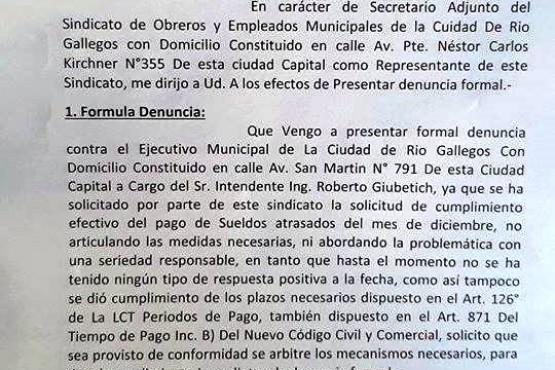 SOEM denunció al Intendente ante la Secretaria de Estado de Trabajo