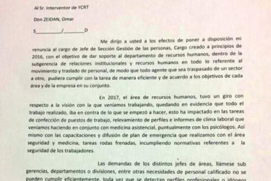 Río Turbio: Renunció a su cargo un jefe de sección de YCRT