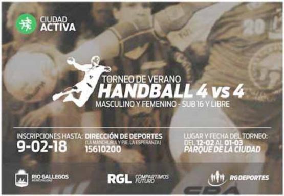 Habrá Torneo de Verano de Handball 4 vs 4 en el Parque