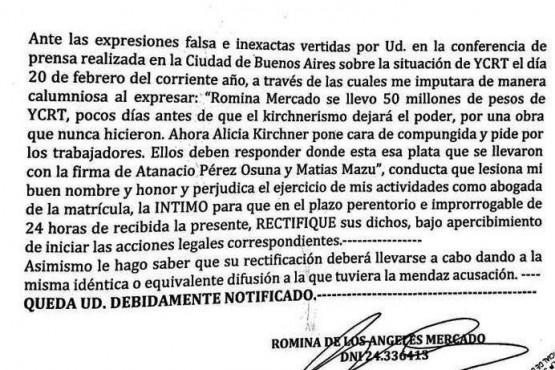 Romina Mercado intimó a Zeidán a que rectifique sus dichos