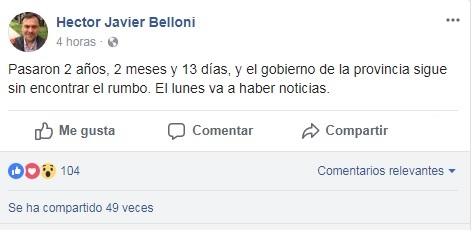 Con un enigmático posteo, Belloni cargó contra la provincia