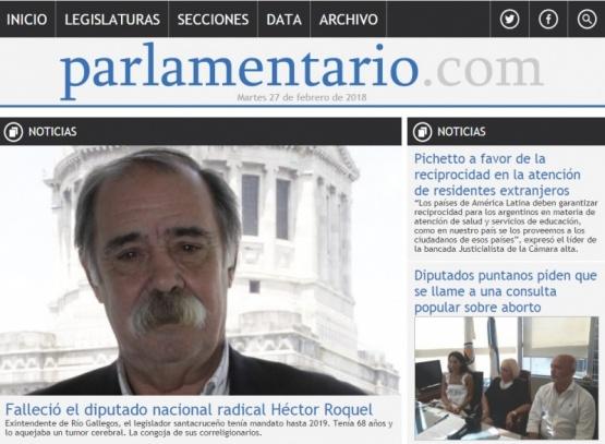 Roquel, portada principal de Parlamentario.