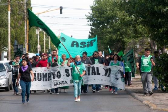 Marcha de ayer, en apoyo a los paritarios. (ATE SC)