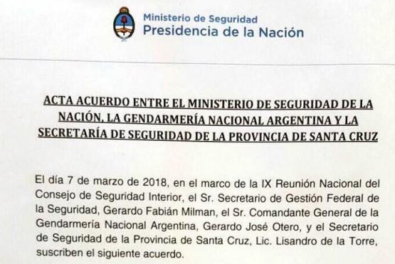 Qué dice el acta firmado entre Santa Cruz y el Ministerio de Seguridad de la Nación