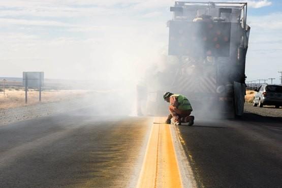Obras de señalización en la autovía Güer Aike - Río Gallegos
