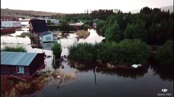 Imágenes de la inundación en El Calafate desde el aire