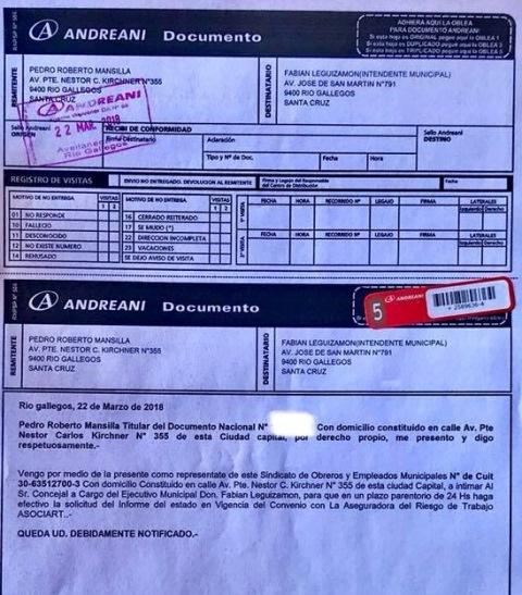 Carta documento enviada por el SOEM.