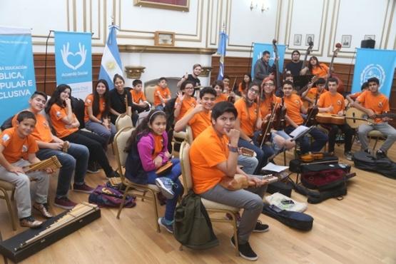 Los chicos de la orquesta,en la previa. (C.G)