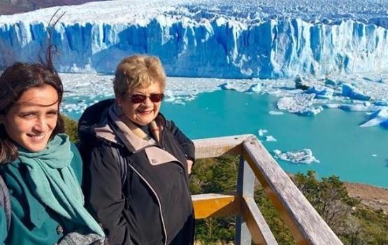 La artista, en el Glaciar.