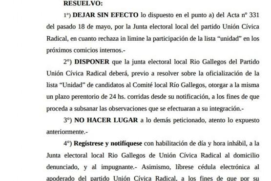 """Juez resolvió que """"Lista Unidad"""" de UCR debe """"subsanar observaciones"""" y participar en elección"""