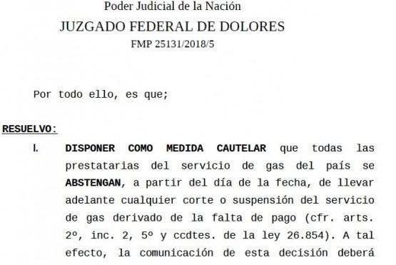 Juez reafirmó la cautelar que prohíbe los cortes de gas a quienes no lo puedan pagar