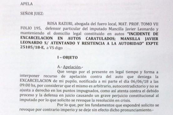"""""""Aún fuera culpable Mansilla, debe estar en libertad""""."""