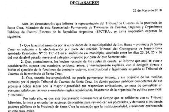 La nota leva las firmas del vicepresidente, Rubén Quijano y del presidente, Sergio Oste
