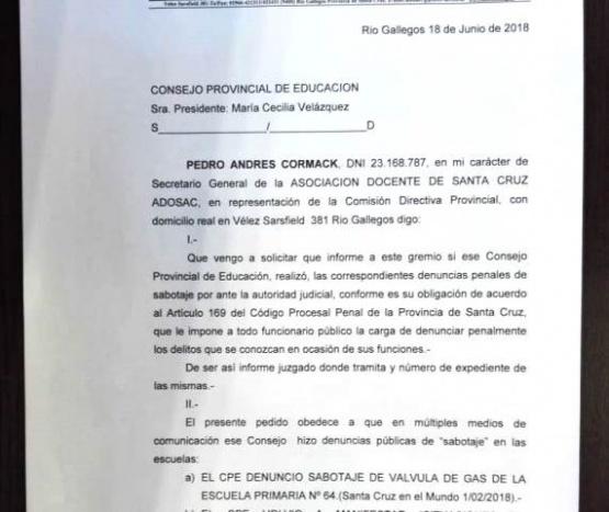 ADOSAC exige al CPE conocer las denuncias penales por el
