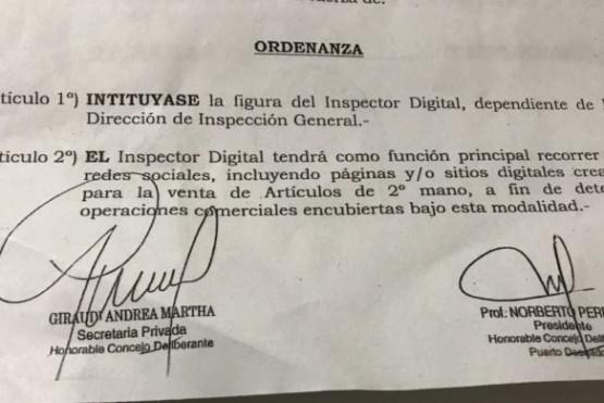 Polémica por ordenanza que instituye la figura del inspector digital