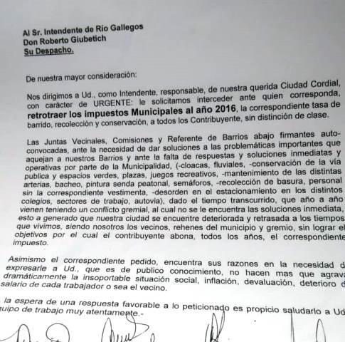 Juntas vecinales piden retrotraer impuestos municipales al 2016