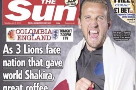 Ofensiva tapa de un diario inglés contra Colombia en la previa del partido