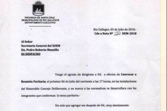 SOEM fue notificado por la paritaria municipal