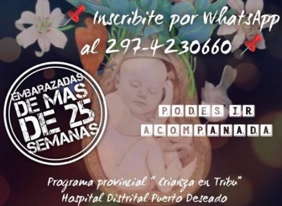 Se realizará taller de crianza en tribu en Puerto Deseado