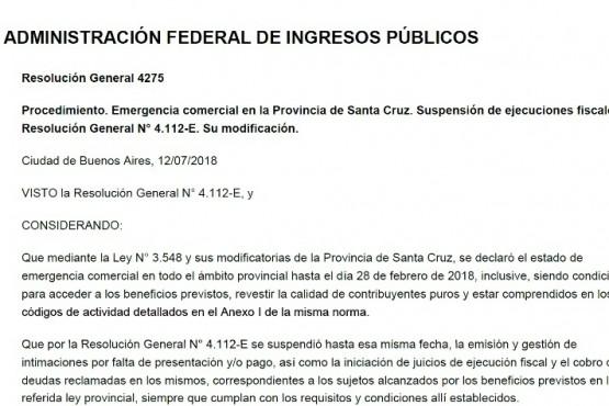 La AFIP suspendió las ejecuciones fiscales en Santa Cruz