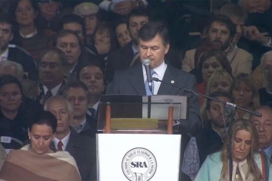 El presidente de la SRA, Daniel Pelegrina, durante la apertura de la 132 Exposición Rural de Palermo. FOTO: CAPTURA DE PANTALLA