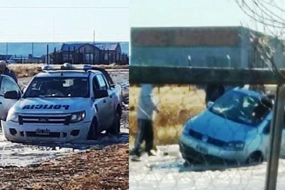 Un móvil policial y un auto particular se quedaron en las lagunas del San Benito