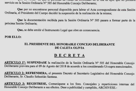 El HCD de Caleta Olivia suspendió una nueva Sesión Ordinaria