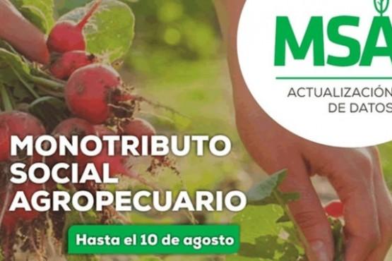 Se convoca a actualizar datos del Monotributo Social Agropecuario