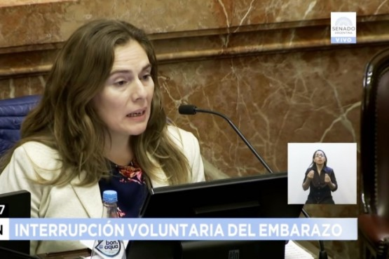María Belén Tapia (Cambiemos) durante su exposición en el Senado