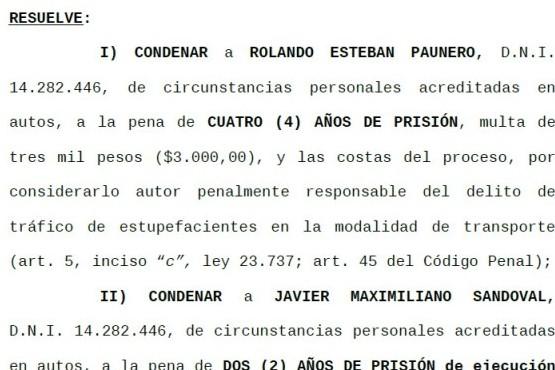 Extracto de la sentencia condenatoria del Tribunal Oral.