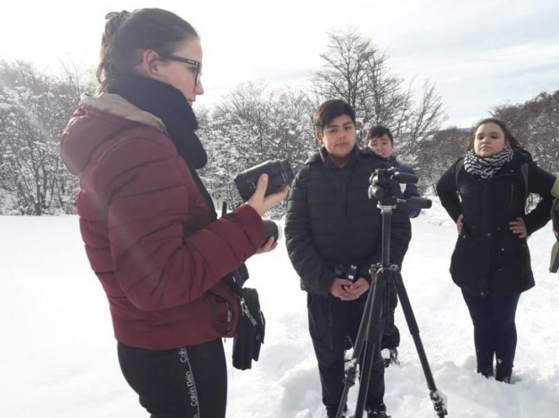 Práctica en la nieve.