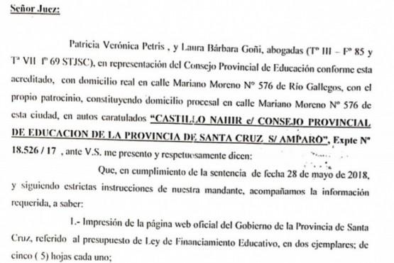 Velázquez aseguró que respondió el pedido de información presupuestaria