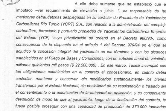 Taselli detenido por un cuaderno pero no por vaciar YCRT