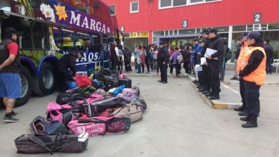 Operativo preventivo en la terminal de ómnibus de Río Gallegos