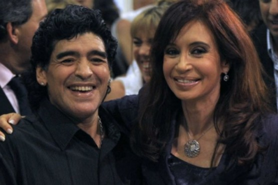 Diego Maradona y Cristina Kirchner en 2008. Foto: CEDOC