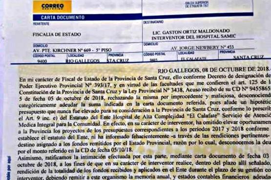 Ortiz Maldonado recibió otra carta documento para que muestre los números