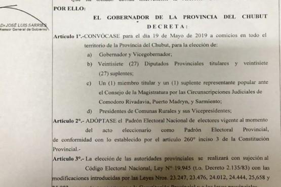 Arcioni decretó la convocatoria a elecciones en Chubut desdobladas del calendario de Nación