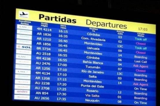 Vuelos a Ushuaia cancelados por medida gremial en Aeroparque y Ezeiza