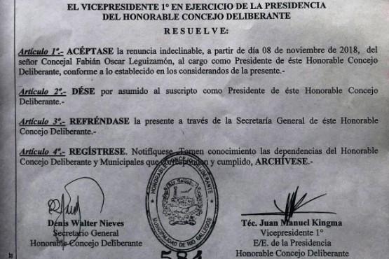 La Justicia ordenó al Concejo que acepte la renuncia de Scippo en sesión