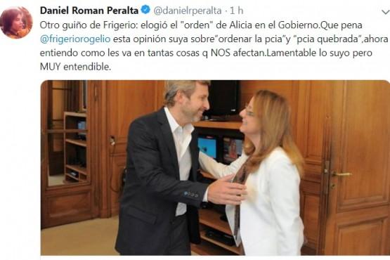 Tras las felicitaciones de Frigerio a Alicia, Peralta estalló en Twitter