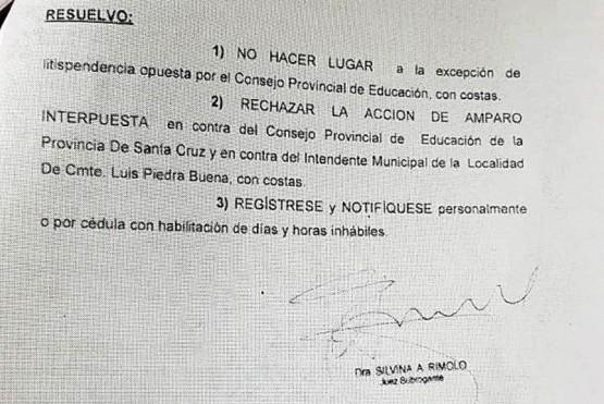 La Justicia rechazó el amparo de los docentes de la Escuelita del Río
