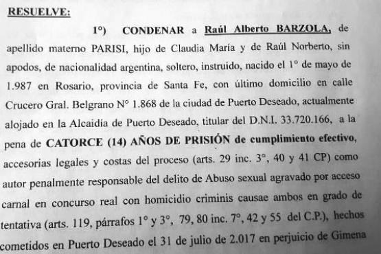 14 Años de prisión para Barzola por intento de abuso y tentativa de homicidio