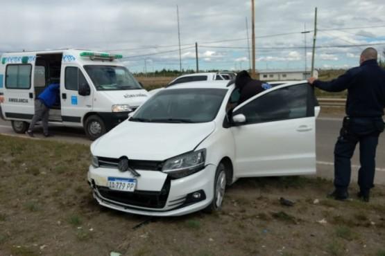 Mujer lesionada tras colisión