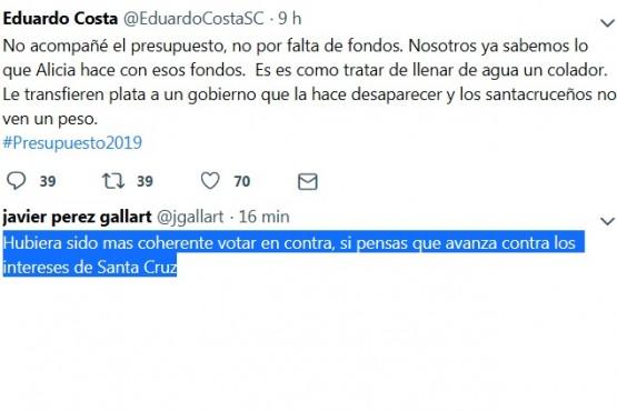 Pérez Gallart cuestionó a Costa por no definir su voto en el recinto
